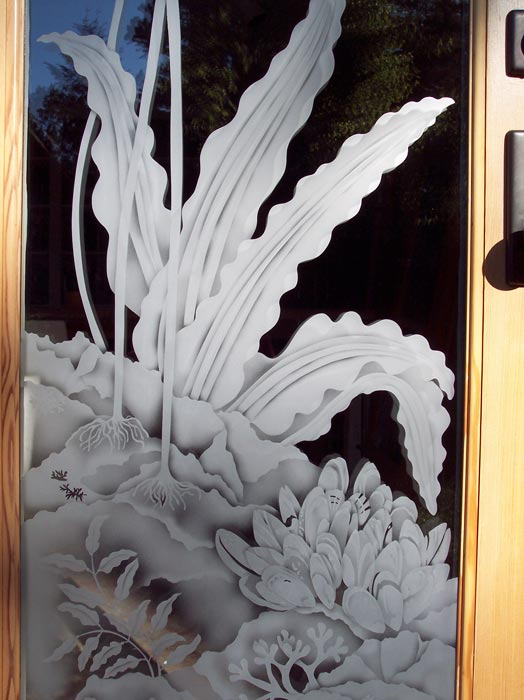 detail of Pacific Ocean Door architectural glass by Cynthia Myers