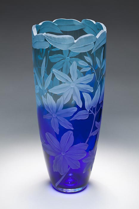Clematis gone Wild art glass by Cynthia Myers