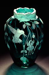 Fuchsias and  Hummingbirds  the shape of this vase has changed a bit the lip is more flared glass art by Cynthia Myers