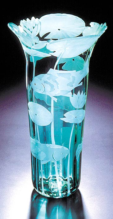 Koi Fish and Lilies SOLD OUT art glass by Cynthia Myers