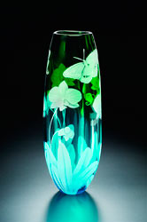 Orchid and Butterfly glass art by Cynthia Myers