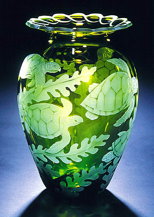 Sea Turtles art glass by Cynthia Myers