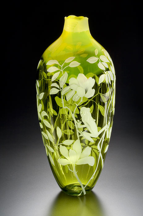 Tropics and Frog art glass by Cynthia Myers