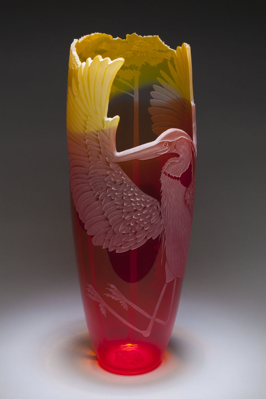 Heron Rising art glass by Cynthia Myers