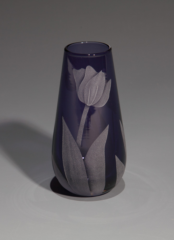 Tulips purple bud  glass by Cynthia Myers
