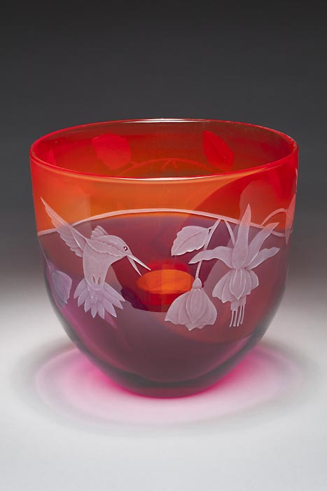 Hummingbird Bowl art glass by Cynthia Myers