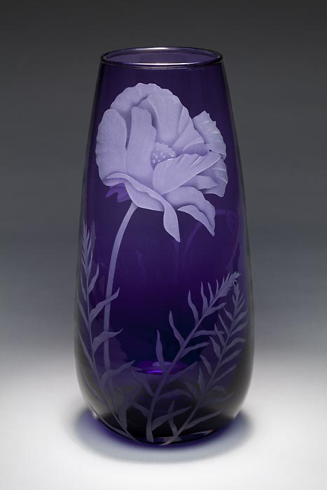 Purple Poppy SOLD OUT art glass by Cynthia Myers