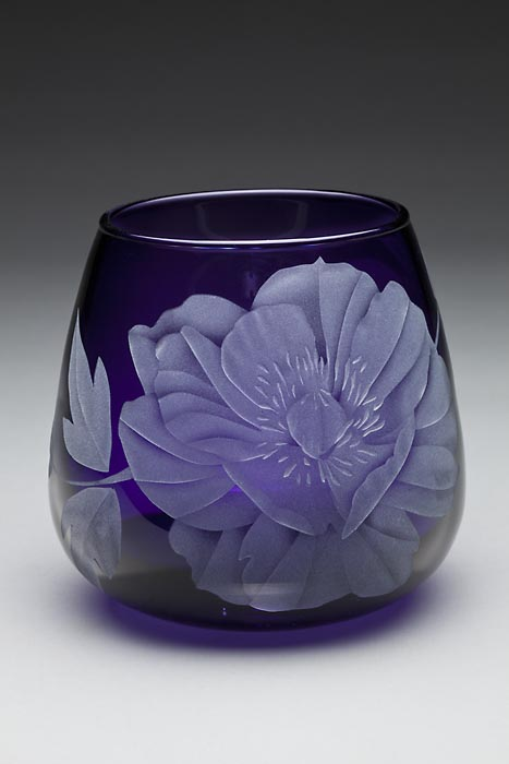 Purple Dahlia art glass by Cynthia Myers