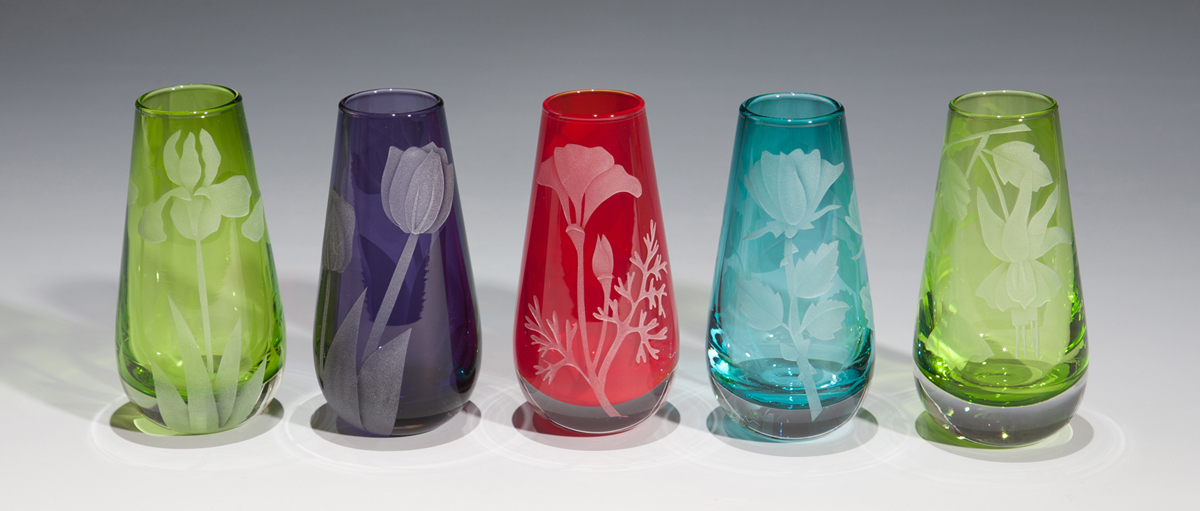 Assorted Bud Vase Set of 5  glass by Cynthia Myers