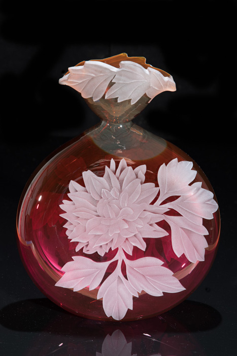 Dahlias art glass by Cynthia Myers