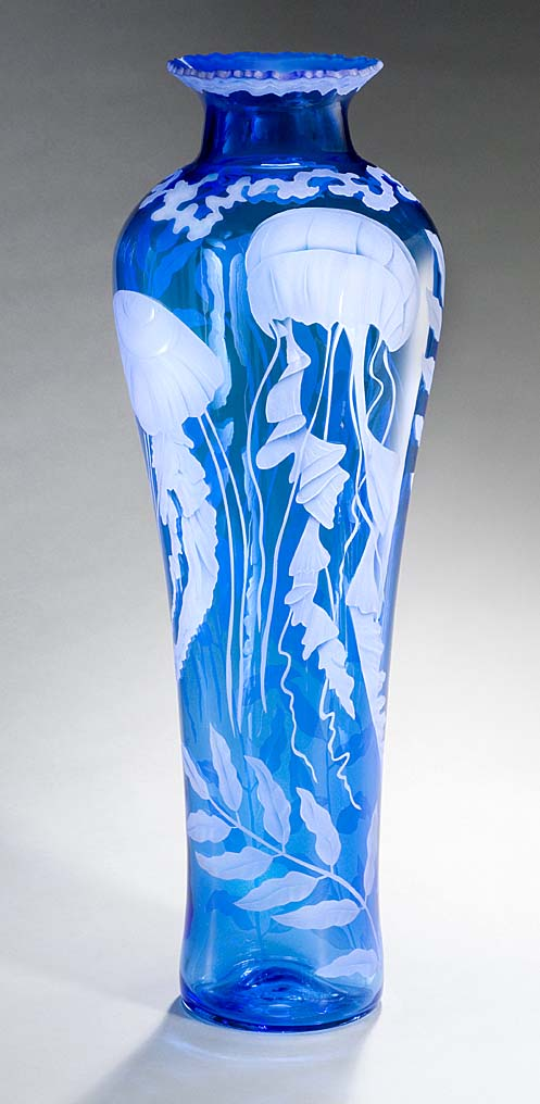 Tall Jellyfish art glass by Cynthia Myers
