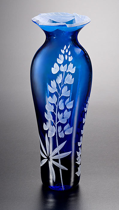 Field Lupines Vase with Cut-Away Lip  glass by Cynthia Myers