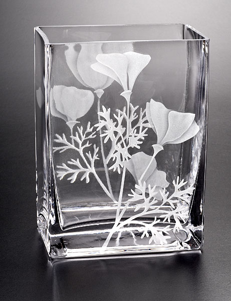Wild Poppy Vase  glass by Cynthia Myers
