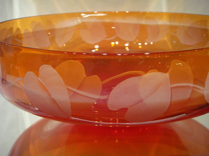 Red Bowl  glass by Cynthia Myers