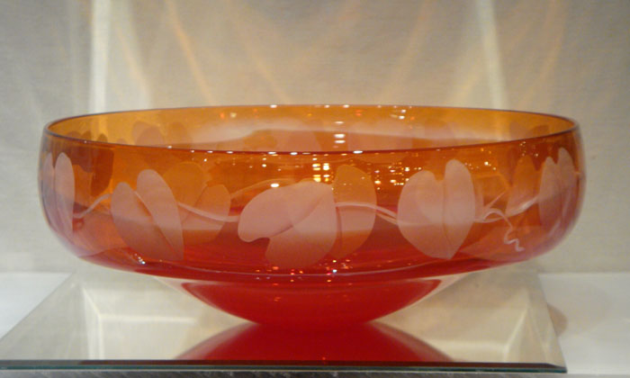 Red Red Bowl  glass by Cynthia Myers