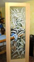 Eucalyptus Door glass art by Cynthia Myers
