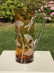 Ginkgo Dragonfly Pitcher glass art by cynthia myers