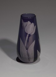 Tulips purple bud glass art by cynthia myers