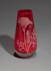 Red Poppy bud vase glass art by cynthia myers