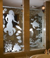 Mermaid Shower Panels glass art by Cynthia Myers