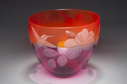 Hummingbird and Hibiscus glass art by Cynthia Myers
