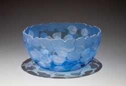 Aspen Leaves Bowl glass art by cynthia myers