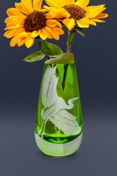 egret bud vase glass art by cynthia myers