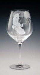 Egret Goblet glass art by cynthia myers