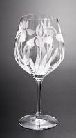 Wild Iris Wine Goblet glass art by cynthia myers