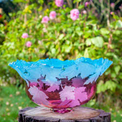 Maple Leaf Bowl glass art by Cynthia Myers