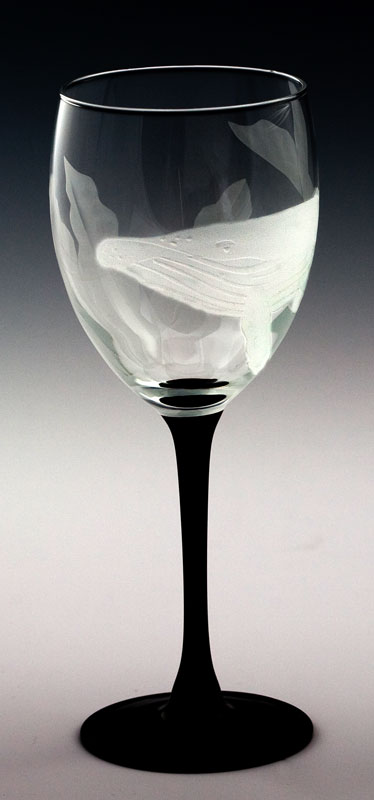 Humpback Whale Goblet  glass by Cynthia Myers
